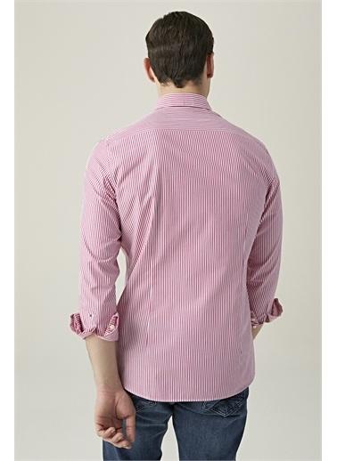 Tween Slim Fit Çizgili Gömlek Kırmızı